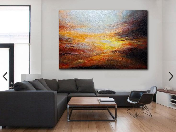 Sky Abstract Painting,Original Natural Landscape Painting,Large Wall Art Ocean A…