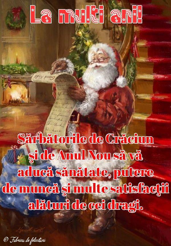 Sărbătorile de Crăciun şi de Anul Nou să vă aducă sănătate, putere de muncă şi multe satisfacţii alături de cei dragi.