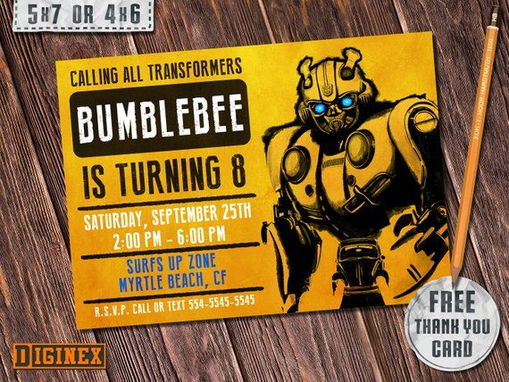 this bumblebee invitation transformers