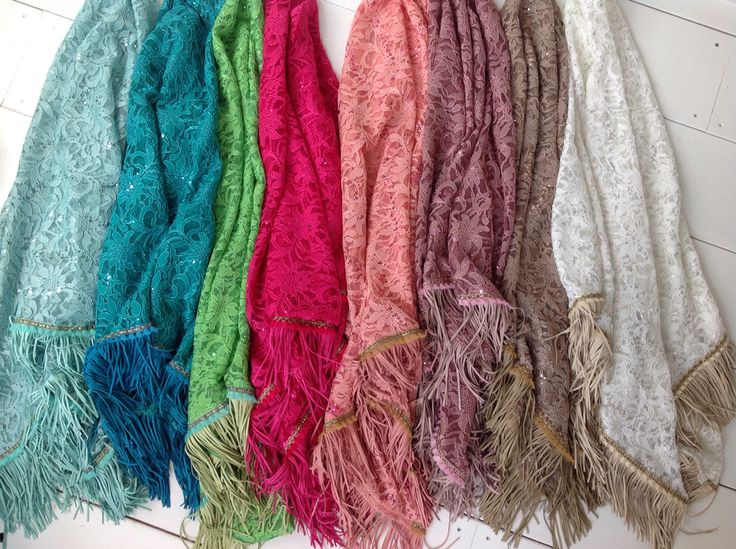 Scarves lace/sequins/fringe. 8 different colors...