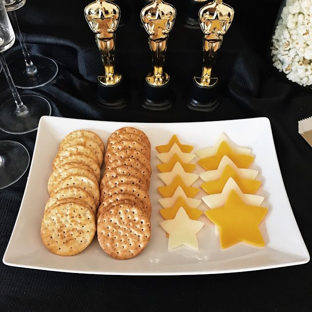 Star cheese and crackers for an awards show party. Throw a fabulous Oscar party! Click or visit FabEveryday.com for tips on food, decor, and activities for throwing an easy (but fab) Academy Awards watching party. Including a free printable Oscars voting ballot!