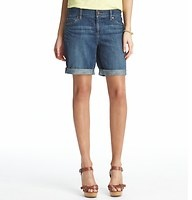 """Boyfriend Denim Shorts in Smokey Blue Wash with 10 1/2"""" inseam - Borrow from the boys with a totally relaxed fit – in a medium blue wash with light distressing for a smokey finish. Zip fly. Wide belt loops. Five-pocket styling. 10 1/2"""" inseam. To give you the best possible fit, we've changed our denim sizing to waist sizes. Use the following list to compare sizes: 24=00, 25=0, 26=2, 27=4, 28=6, 29=8, 30=10, 31=12, 32=14, 33=16, 34=18"""