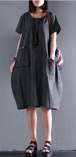 black unique strips cotton dress pocket casual dresses short sleeve sundress