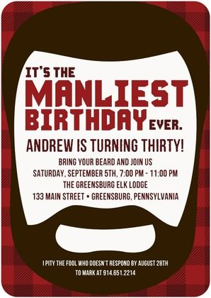 Adult Birthday Party Invitations Manliest Beard - Front : Rich Red