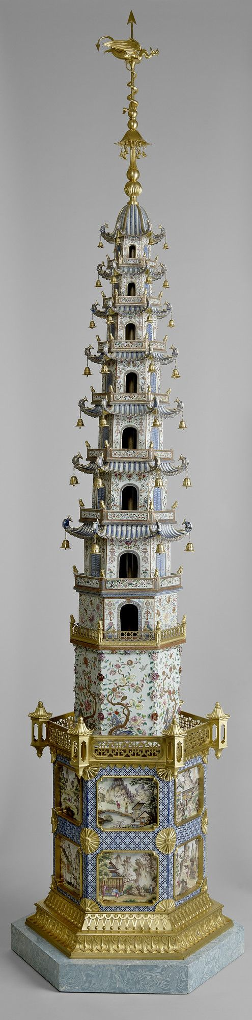 Two pagodas   China, c.1800-03 mount c.1817–20 Porcelain painted in underglaze blue, famille rose enamel colours and gilt, with additions of gilt bronze and enamelled pottery, 212.4 x 95.2 cm  Royal Collection Trust, RCIN 2400