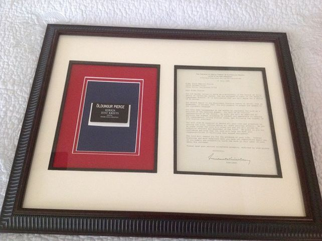 Frame LDS mission call and missionary tag with the color of the country they served in.  Great inspiration in the home for future little missionaries.  Buy 8x10 matted frame and pre cut matting from craft store, under $20 total!