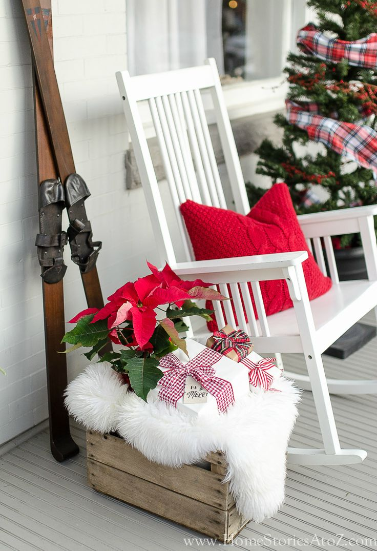 507 best christmas inspiration images on pinterest holiday ideas christmas porch decorating idea rocking chair