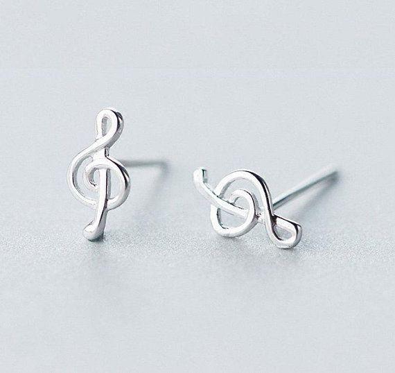 925 Sterling Silver Musical Note Kids Girls Women Stud Earrings Jewellery
