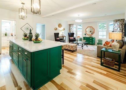 "Benjamin Moore ""green bay"" walls in ""white wisp"" and trim in ""moonshine"""
