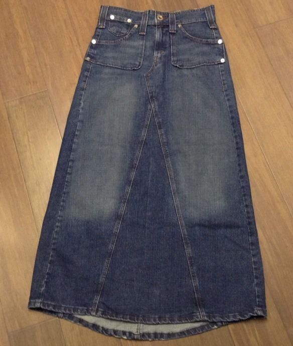 Up for sale is a gently worn Levi's Long Denim A Line Skirt! This skirt is in great condition! Measured 30X27.