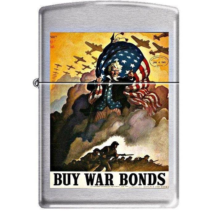 ZIPPO BUY WAR BONDS - BRUSHED CHROME