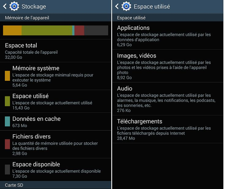 Solutions : Espace de stockage disponible insuffisant Android