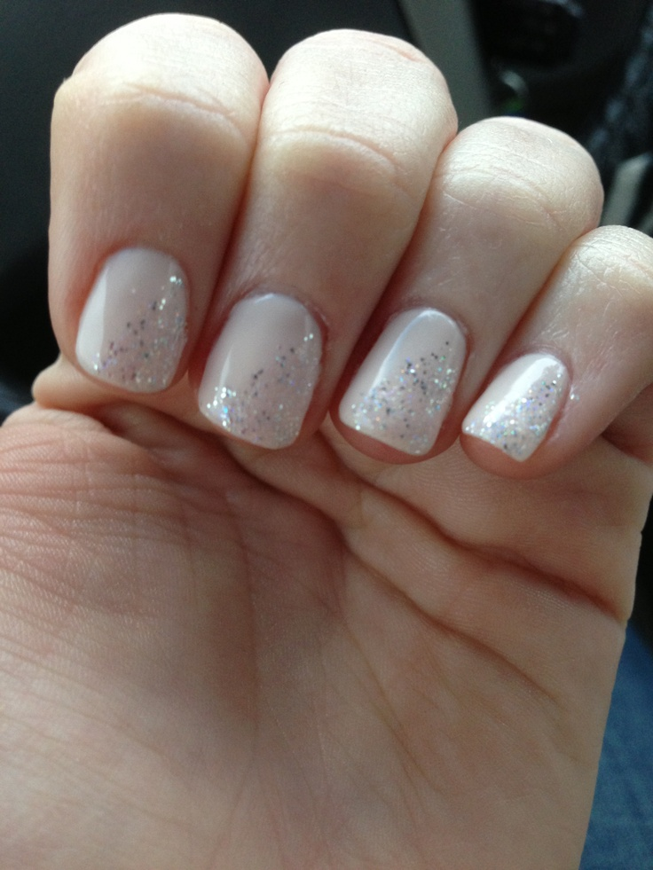 Nude nail with half glitter You can use tape for straight ...
