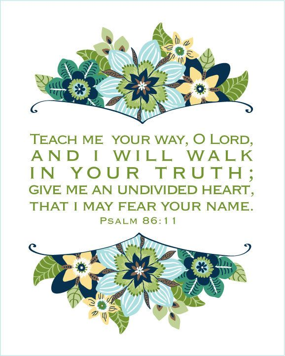 TEACH Me YOUR WAY O Lord, scripture print Blues and Greens. $14.00, via Etsy.