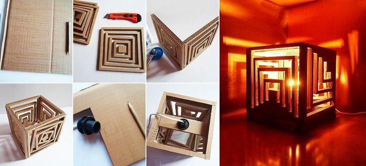 Oluklu karton ve ahşap dübeller kullanılarak yapılmış ışıltılı aydınlatma tasarımları.. http://www.cevrecibahcem.com/1017
