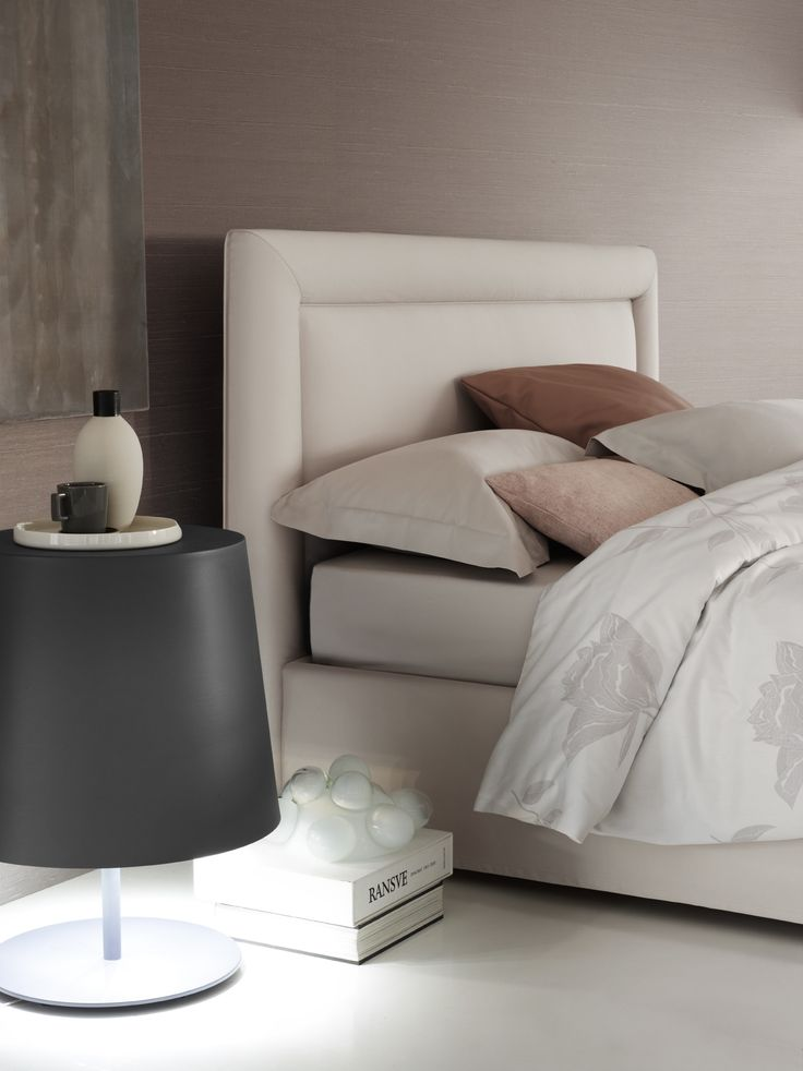 """Sumptuously elegant double-size bed [Double Bed """"Pochette Pure"""" by Flou] #Beds…"""