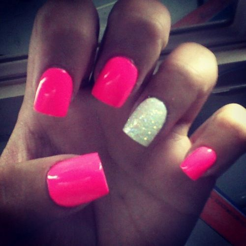 Hot pink with white glitter accent nail