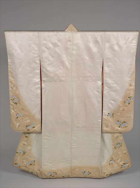 Long-Sleeved Kimono (Furisode) with Hydrangeas and Cherry Blossoms