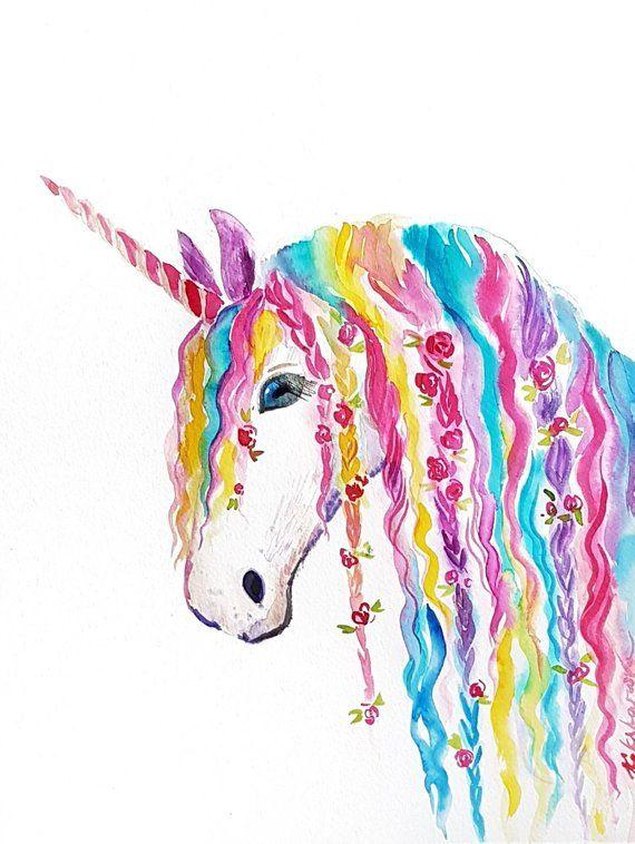 b56830cc7f19 Rainbow Unicorn original watercolor painting nursery decor unicorns gift  for girls