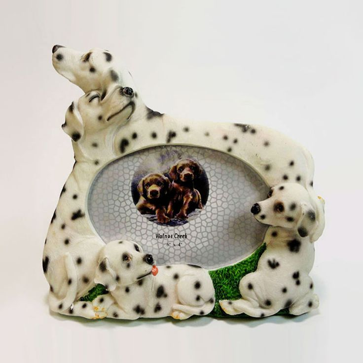 Dalmatian Dogs and Puppies Figurines Polyresin Picture Photo Frame - PFD687L - Dalmatian dogs and puppies polyresin dog figurines table or desk photo frame with easel back. Holds one 6 x 4 picture Great gift for your dog lover friend or yourself - FOR SALE at www.ClaudiasBargains.com