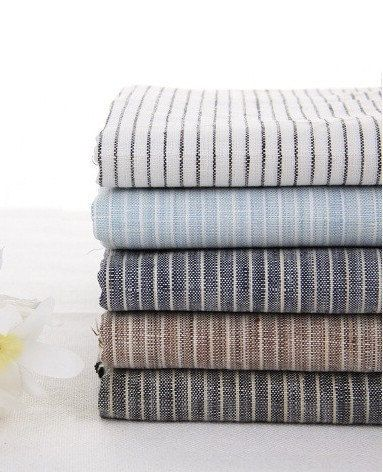 Pure Linen Fabric Flax Fabric Stripe Fabric White Navy