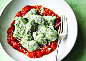 Spinach, ricotta and parmesan gnocchi with tomato sauce