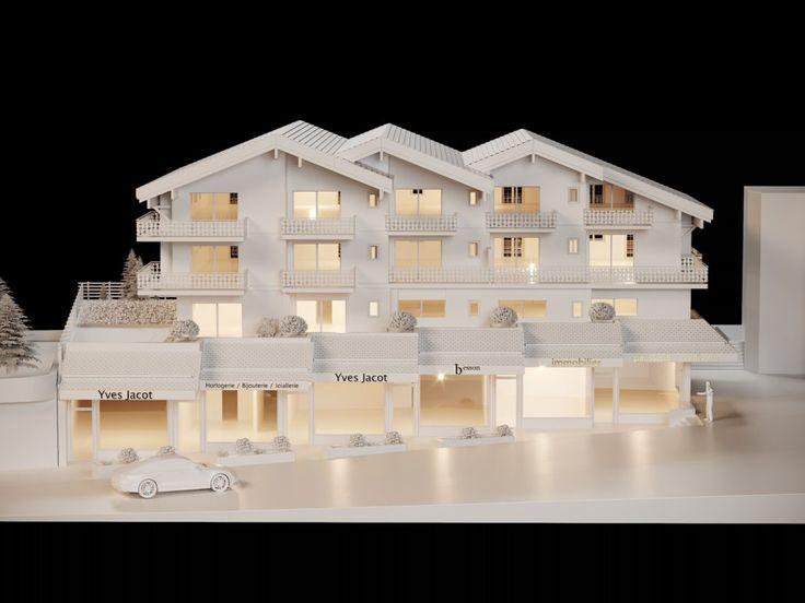 jArchitecture Verbier Ski Alps 3D Printing Architecture 3D White Model Render #architecture #projet #chalet #maquette #noiretblanc