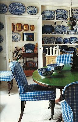 2 of my favorites~ blue & white collection with checked upholstery