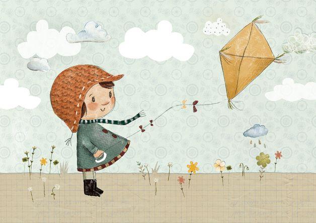 """Kinderbild """"Drachen""""  """"Flieg´, mein Drache, steig´ hoch in die Lüfte, gleite über Blumendüfte. Zwischen Wattewölkchen gehst du auf die Reise, erzählst mir dann auf deine Weise vom Himmel, der..."""