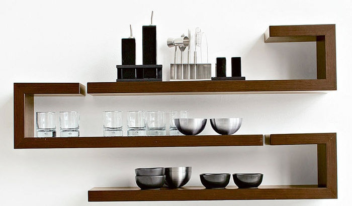 wood geometric shelving