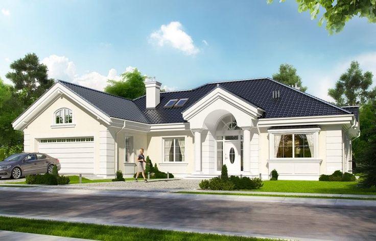 Projekt stylowej willi jednorodzinnej, przeznaczonej dla 4-5cioosobowej rodziny, parterowej, z niewielkim poddaszem użytkowym. Dom jest kontynuacją projektów z serii Rezydencja parkowa.