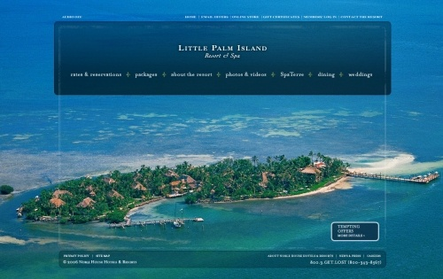 Excellent use of large background images - Little Palm Island http://www.littlepalmisland.com/