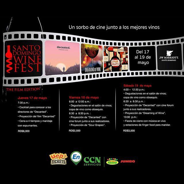 Santo Domingo Wine Fest 2018 del 17 al 19 de Mayo  Hotel JW Mariott de Blue Mall Santo Domingo  Dia 17 de 7:30 pm a 12:30 AM. Entrada $6000. Incluye: cocktail para conocer a los directores de Decanted proyecciones de films Decanted y cena/maridaje a 4 tiempos con espumantes.  Dia 18 de 6:00 pm a 12:30 AM. Entrada $2500. Incluye: degustaciones en el salón de vinos wine glass de obsequio proyecciones de films Decanted con cine fórum junto a sus directores y sour grapes.  Dia 19 de 4:00 PM a…