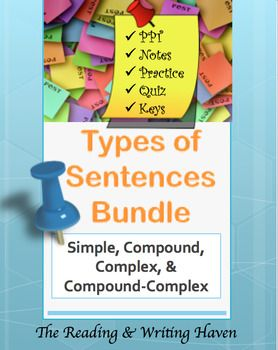 This bundle is the mother lode for types of sentences materials. I believe understanding sentence types is at the heart of good student writing, so I spend a lot of time and energy making quality materials that students will understand and enjoy. If you want your students to understand the four basic types of sentences: simple sentences, compound sentences, complex sentences, and compound-complex sentences, this unit is what you need.In this bundle, you will have access to: Simple and…
