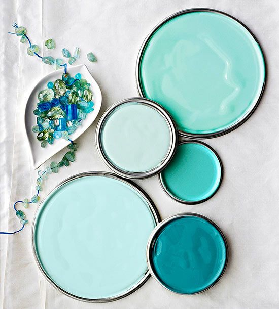 Aquamarine Paint Colors -- Uh! These are absolutely gorgeous. Maybe as a bathroom color or an accent wall. I've had my entire room painted a blue color similar to one of these & it was entirely too much. :) These colors are amazing though & I could absolutely find a use for these!