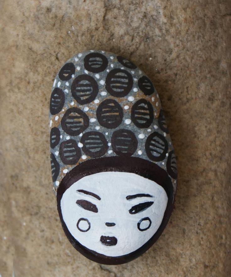 painted stone Alba. $10.00, via Etsy.