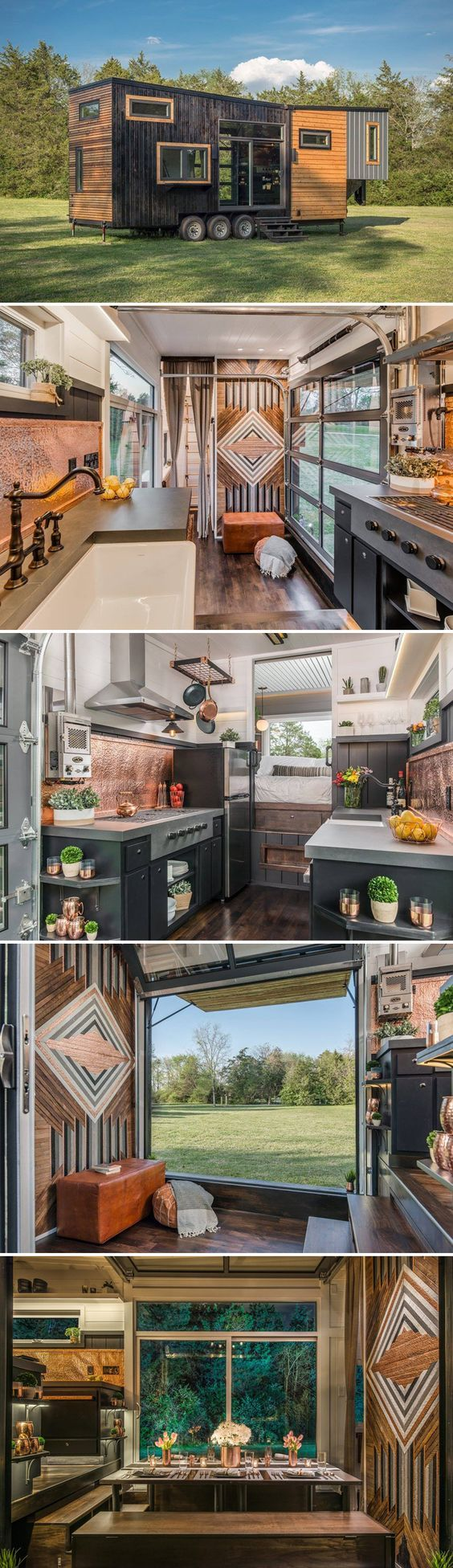 The Escher is a luxury gooseneck tiny house built by New Frontier Tiny Homes. The home features a gourmet kitchen and nested dining table that seats 12.