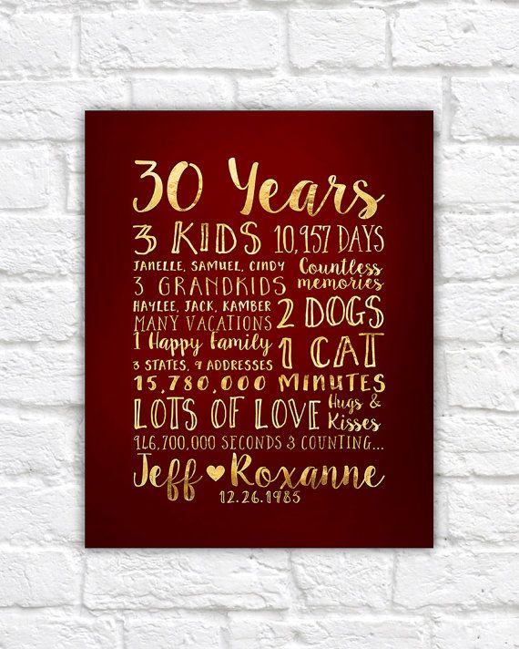 30 Year Anniversary Gift, Gift for Parents Anniversary, Kids, Grandchildren, Mom and Dad, 30th Wedding Anniversary, Family Quotes | WF67