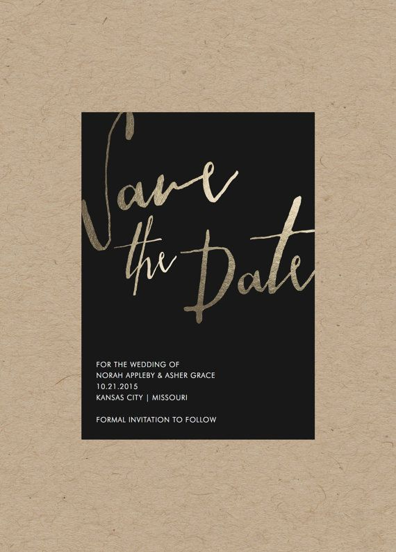 Minimalistic Gold Save the Date // 4.25x5.5 // by blacklabstudio