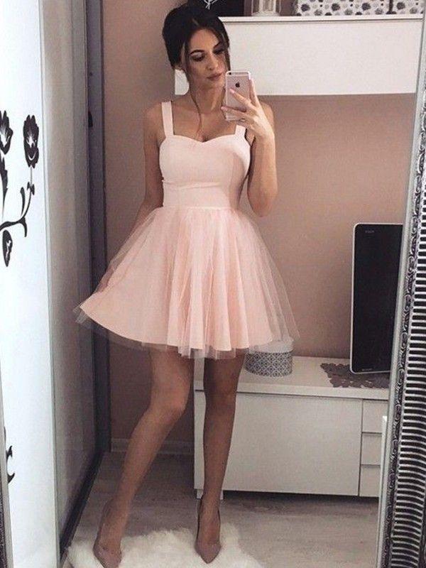 982b58894bd Short Mini A-Line Princess Straps Sleeveless Ruched Satin Dresses - Homecoming  Dresses - Miagal