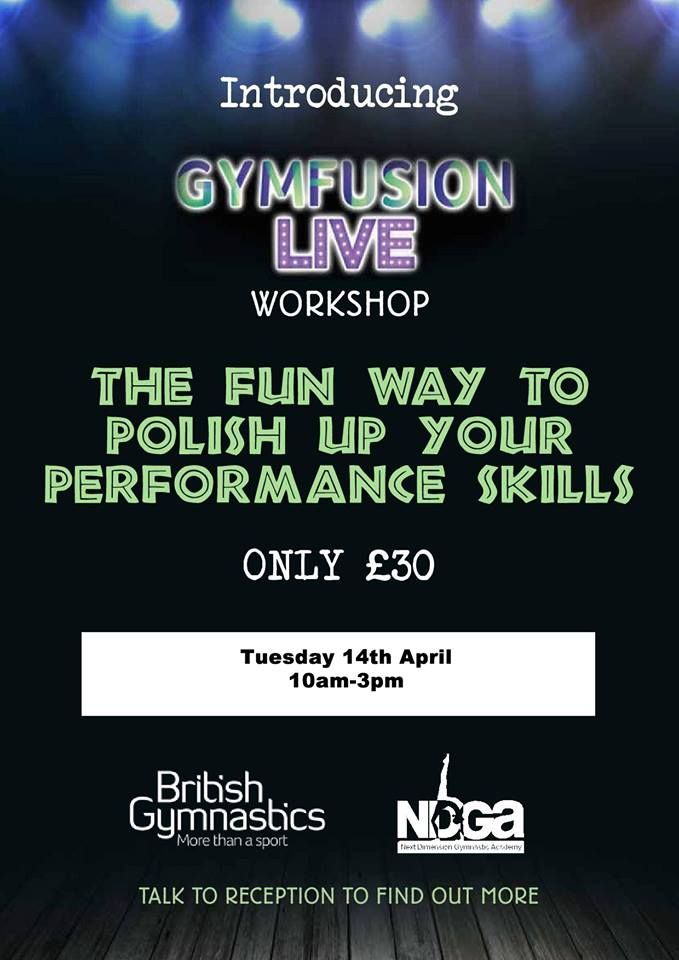 Our Gymfusion Live Workshop is taking place on Tuesday 14th April.  To find out more about our Gymfusion Live Workshop, please contact us on 01892 550 530 or email info@ndga-uk.com: http://www.ndga-uk.com/news/2015/march/13/gymfusion-live-workshop