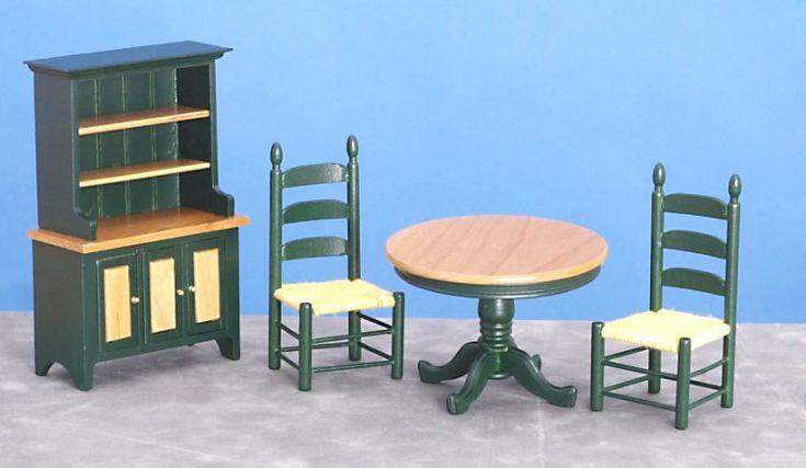 """Green & Oak Dining Room Set in 1"""" Scale"""