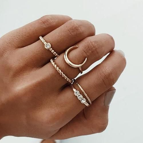 Five Piece Gold Ring Set
