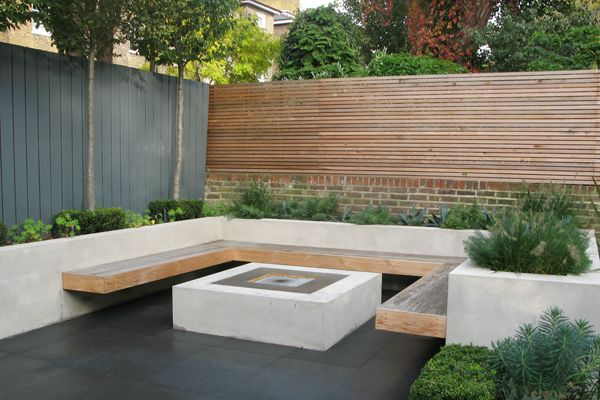 Raised bed, built-in bench and firepit