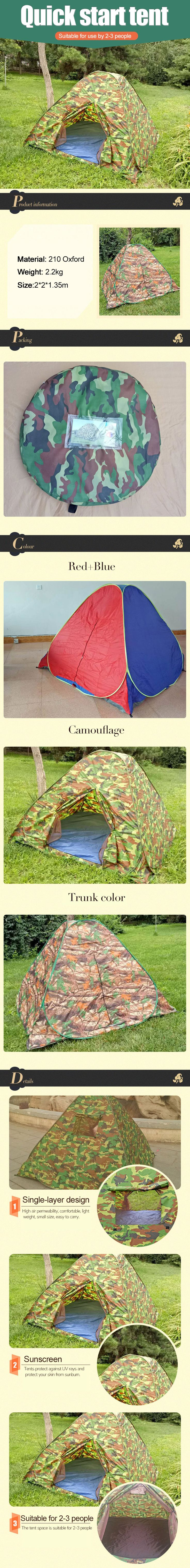 Outdoor Cheap Large Camping Travel 5-6 Person Pop up Family Tent #tent #tents #familytent #popuptent #foldabletent #automatictent #dometent #beachtent #sunshadetent #fiberglasstent #polyestertent #oxfordtent #nylontent #customizedtent #treetent #hikingtent #populartent