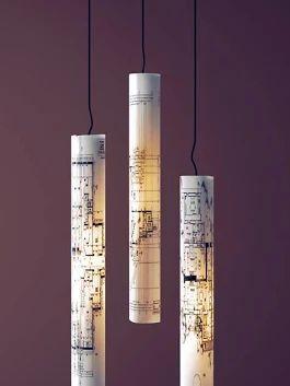 lamparas con planos de papel                                                                                                                                                      Más