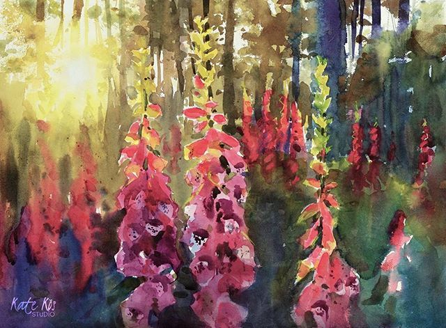 'Secret garden' 57x42cm You can see the process in my stories. Have a nice Saturday  #painting #secretgarden #foxgloves #watercolorartwork #watercolor #lovemyjob