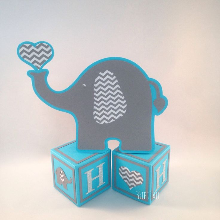 Elephant Baby Shower Centerpieces, Table Decorations, Elephant On Alphabet Blocks