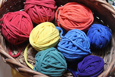 Recycled t-shirt yarn.