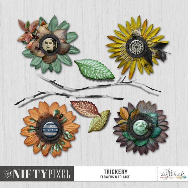 TRICKERY   Flowers & Foliage These pretty stacked flowers are perfectly coordinated with the TRICKERY Collection. They are perfect for adding some dramatic flair to yoru Autumn or Halloween themed digital projects. Each flower is uniquely designed, with fun quirky faces and some insect companions taboot!  DOWNLOAD INCLUDES:  4X Stacked Flowers(.png) 3X Leaves 2X Twigs